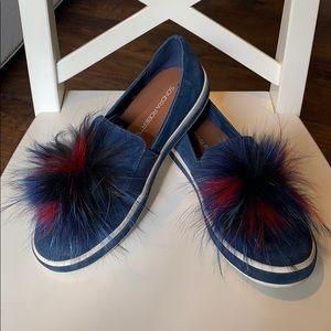 Sondra Roberts Navy Slip On Sneakers with Fur Pom